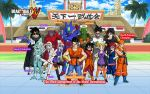 5girls 6+boys arena armor bandanna black_hair blonde_hair boots cape character_name crossed_arms dougi dragon_ball dragon_ball_xenoverse english_text full_body glasses group_picture hairband halo hat highres jewelry long_hair looking_at_viewer mirai_senshi multiple_boys multiple_girls necklace official_art red_eyes redhead scouter short_hair sunglasses sword thumbs_up twintails wallpaper weapon white_hair