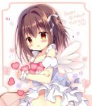 1girl :d apron azumi_kazuki bangs bare_shoulders blush bow brown_eyes brown_hair collarbone commentary_request detached_sleeves eyebrows_visible_through_hair frilled_panties frills gears hair_between_eyes hair_bow hair_intakes happy_birthday heart long_hair mini_wings object_hug one_side_up open_mouth original panties puffy_short_sleeves puffy_sleeves ribbon_trim short_sleeves smile solo star underwear white_apron white_bow white_panties white_sleeves white_wings wings