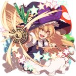 >:) 1girl :d apron bangs black_skirt black_vest blonde_hair blush bow braid broom buttons commentary_request cork cowboy_shot eyebrows_visible_through_hair flask frilled_apron frilled_hat frills hair_between_eyes hair_bow hat hat_bow highres holding holding_broom kaiza_(rider000) kirisame_marisa long_hair mini-hakkero mushroom open_mouth outstretched_arm petticoat puffy_short_sleeves puffy_sleeves purple_bow round-bottom_flask short_sleeves side_braid simple_background single_braid skirt skirt_set smile solo star test_tube touhou v-shaped_eyebrows vest waist_apron white_apron white_background white_bow witch_hat yellow_eyes yin_yang