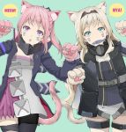 2girls absurdres an-94_(girls_frontline) animal_ears bangs blonde_hair cat_ears cat_tail eyebrows_visible_through_hair facial_mark fang fish food food_in_mouth girls_frontline green_eyes hairband highres jacket long_hair looking_at_viewer multiple_girls nyan open_mouth pantyhose paw_pose pink_hair ponytail ribbon simple_background single_thighhigh st_ar-15_(girls_frontline) strap tail thigh-highs thigh_strap tori_(user_hghr2284) violet_eyes whisker_markings