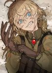 1girl absurdres bangs blonde_hair blue_eyes brown_gloves clenched_teeth coat gloves hair_between_eyes highres hiranko looking_at_viewer short_hair solo tanya_degurechaff teeth youjo_senki