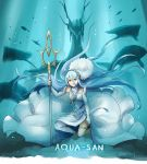 1girl aqua_(fire_emblem_if) blue_hair character_name closed_mouth dragon dress elbow_gloves fingerless_gloves fire_emblem fire_emblem_if fish gloves hair_between_eyes holding holding_weapon jewelry long_hair my_unit_(fire_emblem_if) nintendo one_knee pendant polearm robaco twitter_username veil weapon white_dress white_gloves yellow_eyes