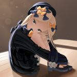 1girl abigail_williams_(fate/grand_order) absurdres backlighting bangs black_bow black_dress black_footwear black_hat blonde_hair blue_eyes bow brown_background commentary_request dress fate/grand_order fate_(series) forehead hair_bow hat head_tilt highres knees_up light_rays long_hair long_sleeves looking_at_viewer orange_bow parted_bangs polka_dot polka_dot_bow ribbed_dress sanbe_futoshi sitting sleeves_past_fingers sleeves_past_wrists slippers solo white_bloomers