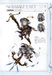 1girl absurdres armored_boots bangs boots breasts cape character_name chibi chibi_inset granblue_fantasy green_eyes grey_hat harvin highres holding holding_weapon king_at_viewer minaba_hideo multiple_views non-web_source official_art page_number parted_bangs pointy_ears sahli_lao scan short_hair simple_background translation_request weapon
