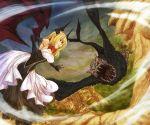 1boy 1girl blonde_hair cervus commentary_request demon_wings dress elbow_gloves fantasy flying gloves horns monster open_mouth original outdoors pixiv_fantasia_last_saga red_eyes strapless strapless_dress wings