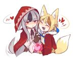 2girls animal_ears black_hair blonde_hair blush brown_hair closed_eyes fang fire_emblem fire_emblem_heroes fire_emblem_if fox_ears fox_tail gloves grey_hair hair_ornament hand_holding heart highres hood hood_up kinu_(fire_emblem_if) lazymimium long_hair long_sleeves multicolored_hair multiple_girls nintendo open_mouth red_eyes short_hair streaked_hair tail twitter_username velour_(fire_emblem_if) wolf_ears wolf_tail