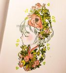 1girl artist_name bangs closed_eyes flower leaf limited_palette meyoco original photo pink_flower plant portrait profile short_hair solo traditional_media triangle white_hair