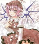 1girl :d animal_ears between_legs bow brown_dress cowboy_shot dress feathered_wings fingernails frilled_dress frilled_sleeves frills fujiwara_minaho green_nails grey_eyes hair_between_eyes hand_between_legs leaning_forward long_sleeves mystia_lorelei nail_polish open_mouth pinafore_dress pink_hair sharp_fingernails shiny shiny_hair shirt short_hair smile solo standing touhou traditional_media water white_bow white_shirt white_wings wings