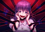 1girl :d absurdres black_ribbon blood blood_on_face bloody_tears bug butterfly fate/stay_night fate_(series) hair_between_eyes hair_ribbon head_tilt highres insect long_hair looking_at_viewer matou_sakura mazeru_(oekaki1210) open_mouth purple_hair red_ribbon ribbon shiny shiny_hair shirt short_sleeves smile solo upper_body violet_eyes white_shirt