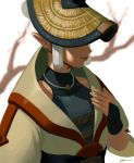 1girl ayumi_(830890) branch bridal_gauntlets chin_strap closed_mouth hand_up hat highres jewelry lips necklace nintendo paya_(zelda) pointy_ears short_hair signature silver_hair solo the_legend_of_zelda the_legend_of_zelda:_breath_of_the_wild upper_body