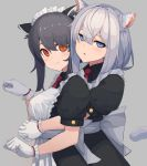 2girls animal_ear_fluff animal_ears apron black_hair blue_eyes cat_ears cat_tail commentary english_commentary gloves highres hug hug_from_behind jitome long_hair looking_at_viewer maid maid_apron maid_headdress multiple_girls orange_eyes original paw_pose puffy_short_sleeves puffy_sleeves short_hair_with_long_locks short_sleeves silver_hair simple_background tail upper_body white_gloves wozora