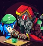 1boy 1girl adeptus_mechanicus blue_eyes blue_hair blue_shirt chisel commentary crossover cyborg dark_background english_commentary extra_arms glowing goggles green_hat hair_bobbles hair_ornament hat hood kawashiro_nitori mask mechanical_arm mini-hakkero rebreather red_goggles red_hood red_robe robe setz shirt short_hair smile sparks table techpriest touhou tube twintails warhammer_40k