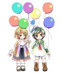 2girls absurdres aquanzu balloon black_hair blonde_hair boots cross-laced_footwear expressionless eyebrows_visible_through_hair green_eyes hat highres lace-up_boots long_sleeves looking_at_another looking_at_viewer mary_janes mizuhashi_parsee multiple_girls murasa_minamitsu sailor_hat shoes short_hair skirt smile socks string touhou twitter_bird