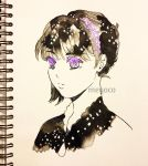 1girl artist_name black_hair eyebrows_visible_through_hair hair_ornament hairpin highres inktober limited_palette meyoco original photo portrait short_hair solo spot_color star traditional_media violet_eyes