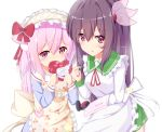 2girls :o absurdres animal_ears apron azur_lane bangs blue_shirt blush bow box brown_apron brown_hair cat_ears cherry_print commentary_request covered_mouth crossover eyebrows_visible_through_hair food_print frilled_apron frills gift gift_box green_sailor_collar green_skirt hair_between_eyes hair_bow hair_ornament heart-shaped_box highres holding holding_gift kantai_collection kappougi kisaragi_(azur_lane) kisaragi_(kantai_collection) long_hair long_sleeves multiple_girls namesake nekoyanagi_(azelsynn) parted_lips pink_eyes pink_hair pleated_skirt print_apron red_bow sailor_collar school_uniform serafuku shirt simple_background skirt valentine very_long_hair violet_eyes white_apron white_background white_sailor_collar
