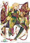 1girl :d acacia_(flower_knight_girl) animal blonde_hair boar chinese_zodiac city_forest_online copyright_name floral_print flower flower_knight_girl full_body green_kimono hair_flower hair_ornament happy japanese_clothes kimono looking_at_viewer obi official_art open_mouth print_kimono sandals sash short_hair simple_background smile smoke solo sword violet_eyes weapon white_background year_of_the_pig