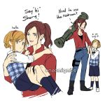 bazooka belt blonde_hair blue_eyes blush brown_hair carrying claire_redfield denim english_text full_body gun hairband highres long_hair looking_at_viewer naomig pants ponytail resident_evil resident_evil_2 school_uniform sherry_birkin short_hair simple_background smile weapon white_background