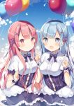 2girls :d absurdres balloon blue_eyes blue_hair commentary_request hair_ornament highres long_hair looking_at_viewer maid multiple_girls necktie open_mouth pink_eyes pink_hair pink_ribbon purple_ribbon ram_(re:zero) re:zero_kara_hajimeru_isekai_seikatsu rem_(re:zero) ribbon shiino_sera short_sleeves siblings sisters sky smile twins v wrist_cuffs x_hair_ornament