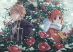 1boy 1girl bangs black_jacket blue_eyes brown_hair bun_cover camellia coat commentary_request double_bun flower gintama highres jacket kagura_(gintama) looking_to_the_side mittens okita_sougo red_coat red_eyes red_flower scarf short_hair snowing sophie_usui white_mittens white_scarf winter_clothes