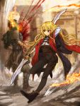 1boy 1girl blonde_hair blood blood_spray cervus commentary_request dagger fantasy fire highres long_hair original pantyhose pixiv_fantasia_last_saga polearm red_eyes sheath sheathed weapon