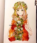 1girl artist_name bangs binder_clip cropped_torso eyebrows_visible_through_hair flower green_eyes green_hair hand_up highres leaf looking_at_viewer meyoco original photo pink_flower sleeveless solo traditional_media upper_body