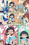 3girls anger_vein angry arrow barefoot black_hair black_skirt blouse blue_dress blue_eyes blue_hair bow brown_eyes brown_hair cellphone cellphone_camera cirno close-up comic door dress hair_bow hair_ribbon heart highres himekaidou_hatate ice ice_wings moyazou_(kitaguni_moyashi_seizoujo) multiple_girls phone pointy_ears poking puffy_short_sleeves puffy_sleeves ribbon shameimaru_aya shirt short_hair short_sleeves sitting sitting_on_floor sitting_on_lap sitting_on_person skirt stabbing taking_picture touhou translation_request twintails white_blouse white_shirt wings