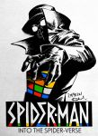 1boy copyright_name dated fedora goggles hat kotteri male_focus rubik's_cube solo spider-man:_into_the_spider-verse spider-man_(series) spider-man_noir spot_color traditional_media trench_coat