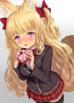 1girl animal_ear_fluff animal_ears artist_name bangs black_jacket black_legwear blazer blonde_hair blunt_bangs blush bow bowtie box breasts buttons collared_shirt commentary_request eyebrows_visible_through_hair fang fox_ears fox_tail gift gift_box grey_background hair_bow heart-shaped_box highres holding holding_gift jacket large_breasts long_hair long_sleeves looking_at_viewer open_mouth open_pajamas original plaid plaid_bow plaid_skirt red_bow red_neckwear red_skirt school_uniform shirt short_eyebrows signature simple_background skirt solo standing tail thigh-highs twintails valentine very_long_hair violet_eyes wavy_hair white_shirt yapo_(croquis_side) zettai_ryouiki