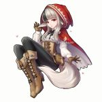 1girl animal_ears artist_name black_hair black_legwear boots brown_gloves closed_mouth fire_emblem fire_emblem_if full_body gloves grey_hair high_heel_boots high_heels highres hood hood_up long_sleeves multicolored_hair nintendo pouch red_eyes simple_background solo streaked_hair tail velour_(fire_emblem_if) white_background wolf_ears wolf_tail zedoraart