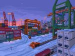 blue_sky building city container crane forklift ground_vehicle kldpxl lamppost motor_vehicle no_humans original outdoors pixel_art road sky skyscraper snow traffic_light truck vehicle