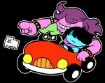 1boy 1girl 1other :3 ahoge annoying_dog armor arms_behind_head bangs bkub black_background black_hair blue_armor blue_skin boots bracelet car clenched_teeth commentary_request deltarune dog fur glasses gloves green-framed_eyewear green_hat grin ground_vehicle hair_over_eyes hat jewelry kris_(deltarune) long_hair monster_boy monster_girl motor_vehicle outline pink_scarf pointing purple_hat purple_skin ralsei scarf sharp_teeth short_hair shoulder_armor smile spiked_armlet spiked_bracelet spikes susie_(deltarune) swept_bangs teeth white_fur white_outline wizard_hat