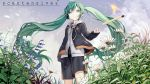1girl aqua_eyes aqua_hair black_jacket black_shorts bluebell_(flower) casual clouds cloudy_sky commentary commentary_request coneflower feet_out_of_frame field fire flower from_below grey_hoodie hatsune_miku highres hood hoodie jacket kari_kenji leaf long_hair matches shorts sky solo standing throwing twintails very_long_hair vocaloid