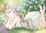 1girl bangs bare_arms barefoot blue_eyes blue_flower blue_rose blurry bokeh brick_wall commentary day depth_of_field dress english_commentary flower garden grass head_in_hand head_wreath highres hoshiibara_mato leg_lift light_blush light_brown_hair light_particles long_hair looking_at_viewer lying on_stomach original outdoors ribbon rose sleeveless sleeveless_dress smile solo sundress the_pose very_long_hair white_dress white_flower white_rose wrist_ribbon