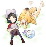 2girls :3 animal_ears backpack backpack_removed bag bare_shoulders black_hair blonde_hair boots bow bowtie closed_eyes commentary elbow_gloves extra_ears gloves hat hat_feather hat_removed headwear_removed helmet high-waist_skirt kaban_(kemono_friends) kemono_friends legwear_under_shorts loafers lucky_beast_(kemono_friends) lying multicolored_hair multiple_girls on_back on_stomach pantyhose pith_helmet print_gloves print_legwear print_neckwear serval_(kemono_friends) serval_ears serval_print serval_tail shoes short_hair short_sleeves shorts skirt sleeping sleeveless tail thigh-highs uhhgaoh zettai_ryouiki