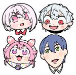 2boys 2girls :d ahoge antennae ascot bangs bkub blue_hair blush blush_stickers bow bowtie cabbie_hat chin commentary constricted_pupils diamond-shaped_pupils dot_nose earrings eyebrows_visible_through_hair eyelashes facial_mark fangs hair_between_eyes hair_ornament hairclip hat highres jewelry kenmochi_touya kuzuha_(nijisanji) multiple_boys multiple_girls nijisanji no_nose open_mouth pink_eyes pink_hair pink_hat pointy_ears portrait red_bow red_eyes red_neckwear shiina_yuika short_hair simple_background smile symbol-shaped_pupils two_side_up ushimi_ichigo v-shaped_eyebrows violet_eyes virtual_youtuber white_background white_hair wing_collar