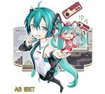2girls aqua_eyes aqua_hair bare_shoulders blush clouds coin commentary controller detached_sleeves dual_persona foreshortening from_above full_body game_controller hands_up hatsune_miku hatsune_miku_(vocaloid3) headphones headset highres holding holding_microphone kari_kenji long_hair microphone minigirl multiple_girls necktie one_eye_closed see-through shirt shoulder_tattoo shrimp_costume skirt smile spring_onion tattoo thigh-highs twintails very_long_hair video_game vocaloid white_shirt
