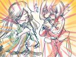blush brown_hair futaba_suetsuki hair_over_one_eye highres hoshino_miyako_(wataten) jacket karaoke matsumoto_kouko multiple_girls music open_mouth red_eyes short_hair singing track_jacket track_suit watashi_ni_tenshi_ga_maiorita!