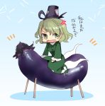 1girl anger_vein bangs black_hat blue_background blush_stickers breasts chibi dress eggplant frilled_sleeves frills ghost_tail gradient gradient_background green_dress green_eyes green_hair hair_between_eyes hat long_sleeves looking_at_viewer makuwauri medium_breasts open_mouth riding shadow short_hair shouryouuma soga_no_tojiko solo tate_eboshi touhou translation_request wide_sleeves
