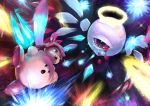:o absurdres adeleine angel_wings blood bloody_tears blue_eyes eye_contact halo highres huge_filesize kirby kirby's_dream_land kirby_(series) looking_at_another multiple_wings nintendo one-eyed red_eyes seraph tenshinhannnn white_skin wings zero_two_(kirby)
