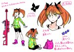 #compass 1girl absurdres backpack bag bike_shorts black_shorts butterfly_hair_ornament character_sheet chii-chan_(#compass) commentary_request earrings full_body green_eyes grin gun gun_request hair_ornament highres hood hoodie jewelry keychain legs_crossed muzzle_brake orange_hair poaro rifle shoes shorts simple_background sitting smile sneakers sniper_rifle solo spaghetti_strap standing star star_earrings translation_request tsurime twintails upper_body weapon white_background
