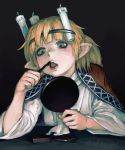 1girl applying_makeup artist_name bangs black_background blonde_hair brown_robe candle commentary_request gengoroumaru_(ambidextrous) green_eyes hairband half_updo hashihime highres holding holding_mirror lipstick looking_down makeup mirror mizuhashi_parsee open_clothes open_robe pointy_ears puckered_lips red_lipstick robe shirt short_hair simple_background solo tareme touhou twitter_username upper_body white_shirt wide_sleeves