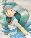 1girl blue_eyes blue_hair creatures_(company) eyelashes game_freak gloves highres kahili_(pokemon) kairi_(ayuara) mole nintendo pokemon pokemon_(game) pokemon_sm shirt striped striped_shirt visor