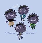 1girl alternate_costume black_shirt blue_background blue_jacket character_name highres inahara jacket kitamura_(splatoon) overalls sea_urchin shirt simple_background skirt splatoon splatoon_(series) splatoon_2