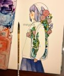 1girl artist_name bag bangs blue_skirt blush brush cowboy_shot flower hat highres leaf liquid long_sleeves medium_hair meyoco original photo pink_flower plant pleated_skirt profile purple_flower purple_hair shoulder_bag skirt solo sweater traditional_media transparent water white_flower white_hat white_sweater