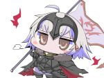 1girl ahoge armor black_armor black_cape blush_stickers boots cape chibi commentary_request fate/grand_order fate_(series) flag fur_trim gloves hair_between_eyes headpiece holding holding_flag jeanne_d'arc_(alter)_(fate) jeanne_d'arc_(fate)_(all) sako_(bosscoffee) solo standing white_background white_hair yellow_eyes