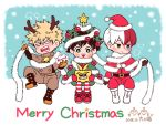 2018 3boys all_might animal_costume bakugou_katsuki bell blonde_hair blue_eyes boku_no_hero_academia boots brown_gloves chibi christmas christmas_ornaments christmas_tree_costume dated fake_antlers gloves green_eyes green_hair grey_eyes hat heterochromia male_focus merry_christmas midoriya_izuku multicolored_hair multiple_boys nightcat open_mouth orange_gloves red_gloves redhead reindeer_costume santa_costume santa_hat sitting smile star todoroki_shouto two-tone_hair white_hair