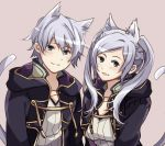 1boy 1girl animal_ears cat_ears cat_tail female_my_unit_(fire_emblem:_kakusei) fire_emblem fire_emblem:_kakusei grey_eyes highres hood hood_down male_my_unit_(fire_emblem:_kakusei) mememefe my_unit_(fire_emblem:_kakusei) nintendo parted_lips robe short_hair simple_background tail twintails upper_body white_hair