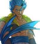 1boy abs arms_at_sides bangs blue_eyes blue_hair clothes_lift dragon_ball dragon_ball_super_broly gogeta grin looking_at_viewer male_focus muscle shaded_face shirtless short_hair simple_background smile spiky_hair super_saiyan_blue tako_jirou upper_body waistcoat white_background wind wind_lift
