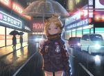 1girl abigail_williams_(fate/grand_order) bangs black_bow black_jacket blonde_hair bow car closed_mouth commentary crossed_bandaids english_commentary fate/grand_order fate_(series) ground_vehicle hair_bow hair_bun heroic_spirit_traveling_outfit holding holding_umbrella jacket long_hair long_sleeves looking_at_viewer motor_vehicle neon_lights night orange_bow outdoors parted_bangs polka_dot polka_dot_bow rain road sleeves_past_fingers sleeves_past_wrists solo_focus standing star street transparent transparent_umbrella umbrella violet_eyes yaxiya