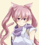 1girl animal_ears cat_ears cat_tail closed_mouth elbow_gloves fire_emblem fire_emblem:_rekka_no_ken gloves highres long_hair mememefe nintendo pink_hair serra simple_background smile solo tail twintails upper_body violet_eyes white_gloves